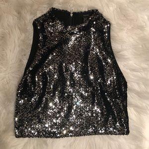 Black sequin crop top